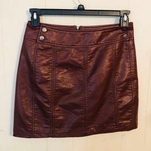 Free people maroon mini skirt
